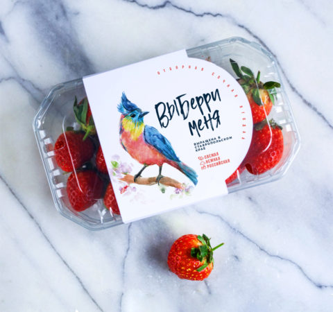 """""""Vyberry Menya"""" – Bird of Happiness on a Strawberry Package"""